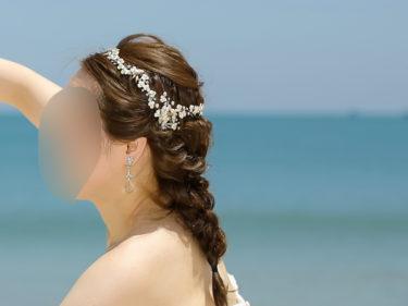 バリ島結婚式で実際にした花嫁髪型!前髪なし・セミロングでシニヨン&フィッシュボーン【海外挙式】