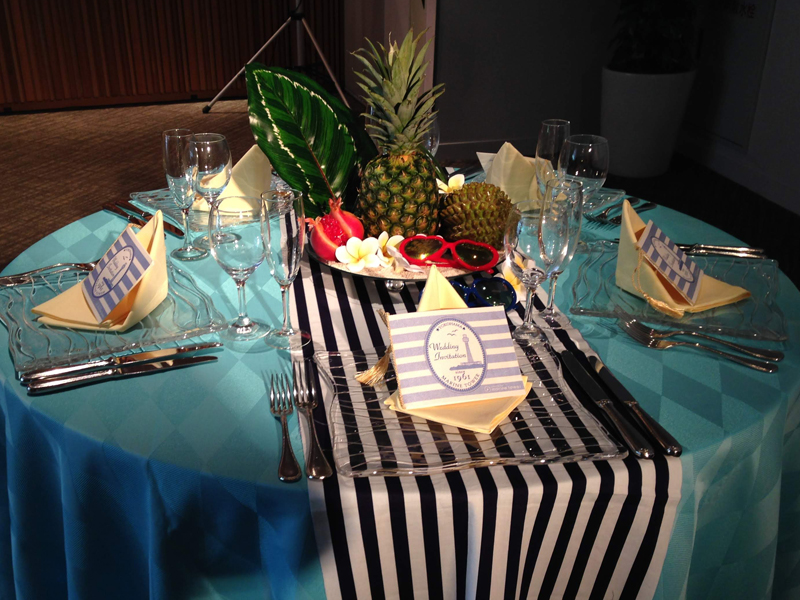 横浜マリンタワーの結婚式テーブル