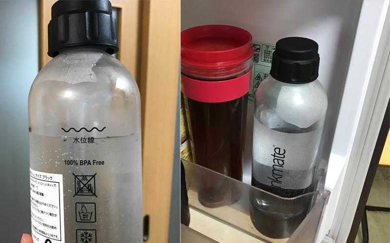 drinkmate(ドリンクメイト)の専用ボトルに水を入れて冷蔵庫で冷やす