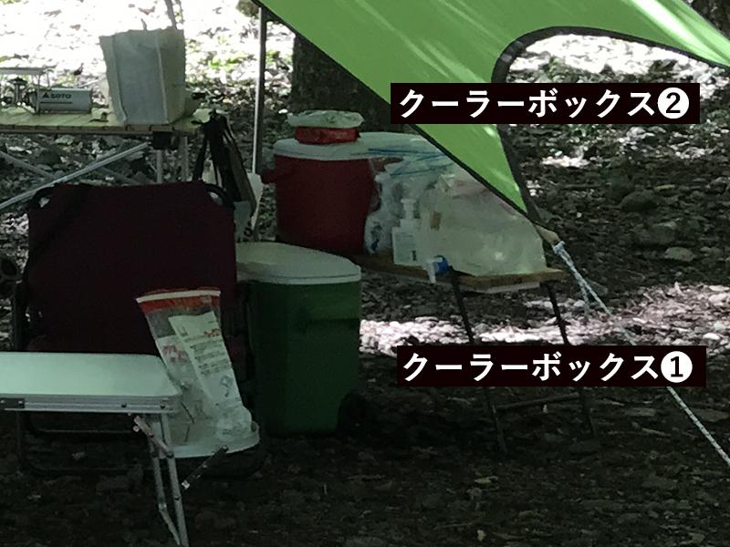 2泊3日キャンプのクーラーボックス2個使い