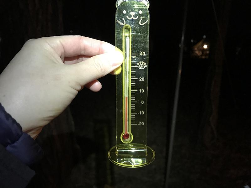 夜のレイクロッジヤマナカの気温