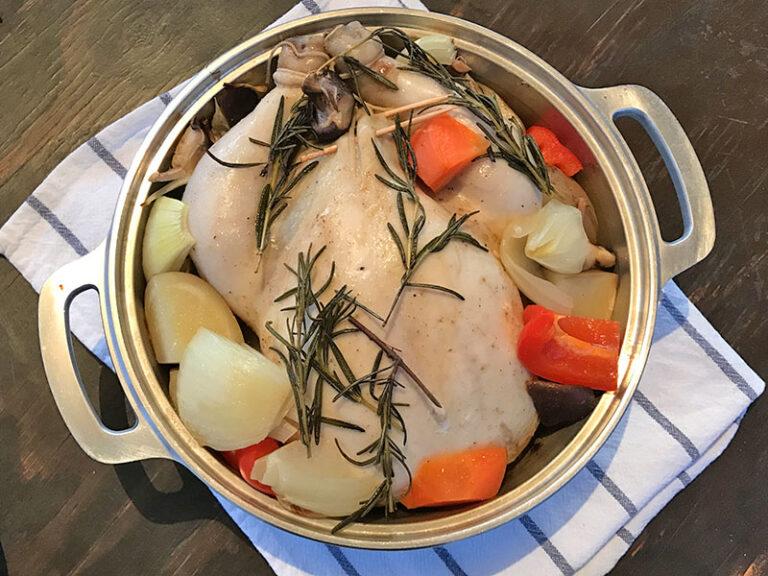 無水鍋で作った丸鶏ローストチキン
